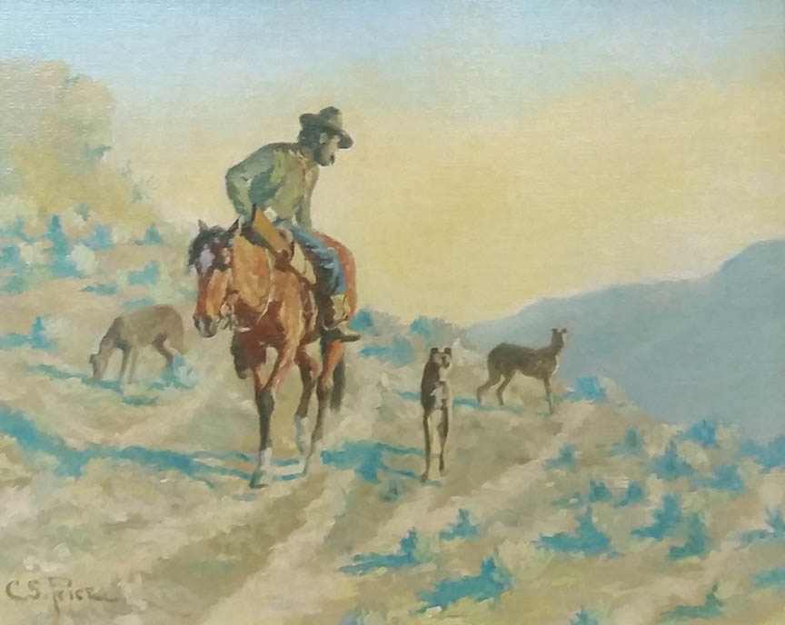 C.S. Price - Man on Horse with Dogs